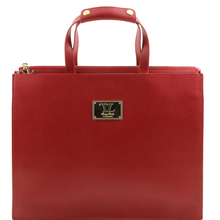 Servieta dama Tuscany Leather din piele saffiano rosie Palermo
