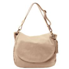 Geanta dama de umar din piele naturala Tuscany Leather, light taupe, TL Bag