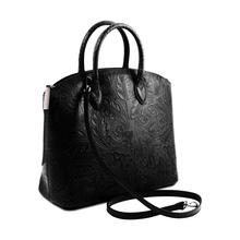 Geanta din piele naturala dama Tuscany Leather, neagra, cu imprimeu floral Gaia