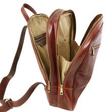 Rucsac laptop  piele naturala Tuscany Leather, maro, Osaka