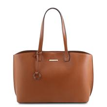 Geanta dama din piele naturala coniac , Tuscany Leather, TL Bag
