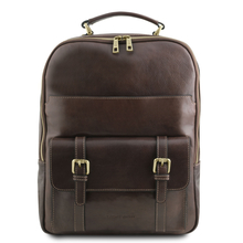 Rucsac laptop din piele naturala maro inchis, Tuscany Leather, Nagoya