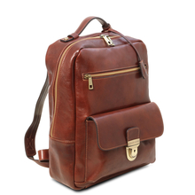Rucsac laptop din piele naturala maro inchis Tuscany Leather, Kyoto