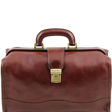Geanta doctor din piele naturala Tuscany Leather, maro, Raffaello