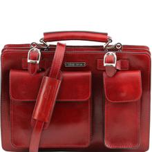 Geanta dama din piele naturala Tuscany Leather, rosie, Tania marime mare