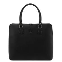 Geanta business dama din piele naturala neagra, Tuscany Leather, Magnolia