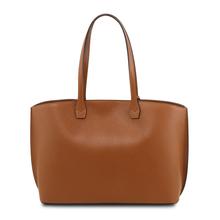 Geanta de firma dama din piele naturala coniac , Tuscany Leather, TL Bag