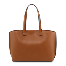 Geanta de firma dama din piele naturala coniac , Tuscany Leather, TL Bag