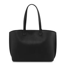 Geanta shopping dama din piele naturala neagra, Tuscany Leather, TL Bag