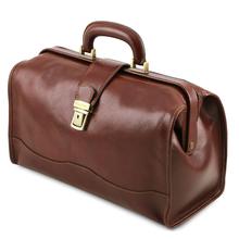 Geanta doctor din piele naturala Tuscany Leather, maro inchis