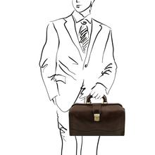 Raffaello Doctor leather bag Dark Brown
