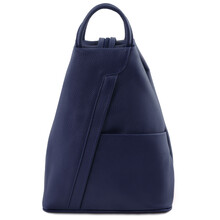 Rucsac dama din piele naturala Tuscany Leather, albastru inchis, Shanghai