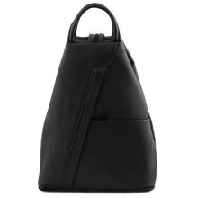 Rucsac dama din piele naturala Tuscany Leather, negru, Shanghai