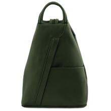 Rucsac dama din piele naturala Tuscany Leather, verde inchis, Shanghai