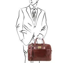 Urbino Leather laptop briefcase 2 compartments with front pocket Brown