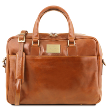 Urbino Leather laptop briefcase 2 compartments with front pocket Honey