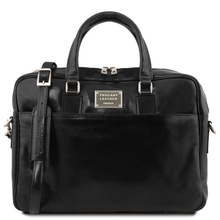 Urbino Leather laptop briefcase 2 compartments with front pocket Black