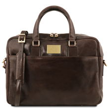 Urbino Leather laptop briefcase 2 compartments with front pocket Dark Brown