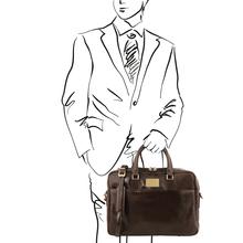 Geanta laptop din piele maro inchis, cu 2 compartimente, Tuscany Leather