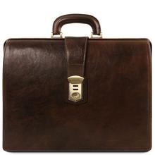 Servieta doctor din piele naturala maro inchis, Tuscany Leather, Canova