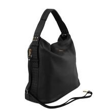 Geanta piele naturala dama neagra, Tuscany Leather, TL Bag
