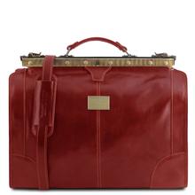 Geanta de voiaj din piele rosie, marime mica, Tuscany Leather, Madrid