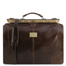 Geanta de voiaj din piele maro inchis, marime mica, Tuscany Leather, Madrid