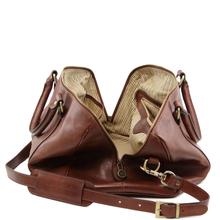 Geanta mica de voiaj din piele naturala maro, Tuscany Leather