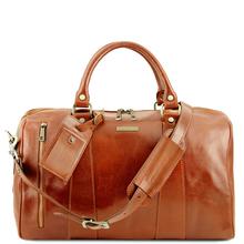 Geanta mica de voiaj din piele naturala honey, Tuscany Leather, Voyager