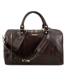 Geanta mica de voiaj din piele naturala maro inchis, Tuscany Leather, Voyager