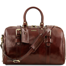Geanta voiaj din piele maro, cu catarame, marime mare, Tuscany Leather, Voyager