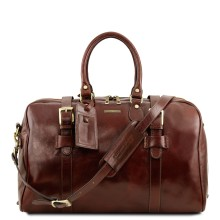 TL Voyager Leather travel bag with front straps - Small size Brown