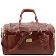 Geanta voiaj din piele maro, cu buzunare laterale, marime mare, Tuscany Leather, Voyager