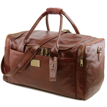Geanta voiaj din piele maro, cu buzunare laterale, marime mare, Tuscany Leather, V