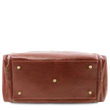 Geanta voiaj din piele maro, cu buzunare laterale, marime mare, Tuscany Leather