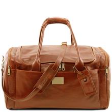 Geanta voiaj din piele honey, cu buzunare laterale, marime mare, Tuscany Leather, Voyager