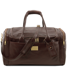 Geanta voiaj din piele maro inchis, cu buzunare laterale, marime mare, Tuscany Leather, Voyager