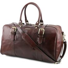 Geanta voiaj din piele maro inchis, cu catarame, marime mare, Tuscany Leather, V