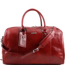 Geanta voiaj din piele naturala rosie, Tuscany Leather, TL Voyager