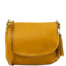 Geanta piele naturala dama Tuscany Leather, galbena cu ciucure TL Bag