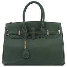 TL Bag Leather handbag with golden hardware Forest Green