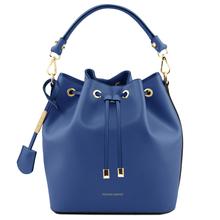 Geanta dama de mana Tuscany Leather din piele albastra Vittoria