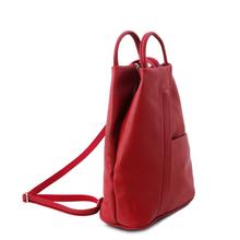 Rucsac piele naturala Tuscany Leather, rosu aprins, Shanghai