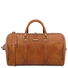 Oslo Travel leather duffle bag - Weekender bag Natural