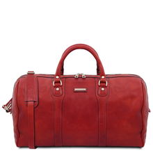 Oslo Travel leather duffle bag - Weekender bag Red