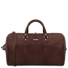 Oslo Travel leather duffle bag - Weekender bag Dark Brown