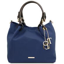 Geanta dama, din piele naturala albastru inchis, Tuscany Leather, TL KeyLuck