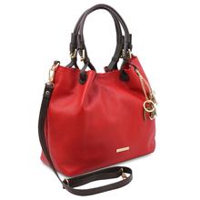 Geanta dama, din piele naturala rosu aprins, Tuscany Leather, TL KeyLuck