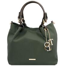 Geanta dama, din piele naturala verde inchis, Tuscany Leather, TL KeyLuck