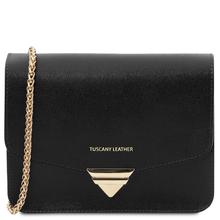 Plic dama, din piele naturala saffiano, negru, Tuscany Leather, TL Bag